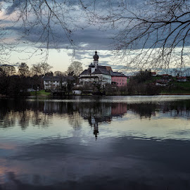 Höglwörth Lake by Peter Oslanec - Buildings & Architecture Public & Historical ( building, reflection, nature, höglwörth lake, lake, castle, architecture )