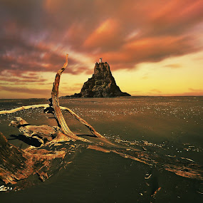 Nine Pin Rock by Jomy Jose - Landscapes Beaches ( auckland, newzealand, lighthouse, beach, waitakere ranges, nine pin rock )