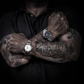 Time for work by Kevin Litchfield - People Body Art/Tattoos ( tag watch, muscles, tattoos, grungy, watches )