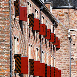 Hunting lodge The Old Loo 4 by Anita Berghoef - Buildings & Architecture Architectural Detail ( ancient, red, window, hunting lodge the old loo, shutter, the netherlands, architectural, windows, architectural detail, apeldoorn, architecture, shutters )