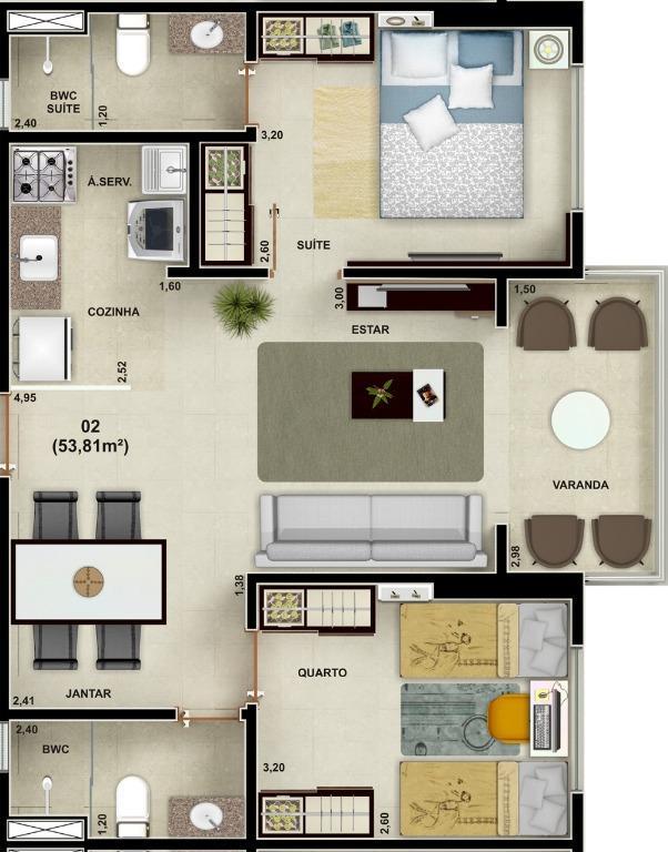 Apartamento com 2 dormitórios à venda, 53 m² por R$ 230.000 - Treze de Maio - João Pessoa/PB