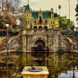 Historical house and its reflection by Nelida Dot - Buildings & Architecture Homes ( lights, reflection, clock, historical, house, pond )