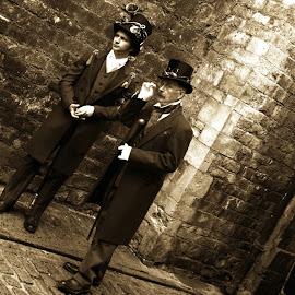 the wait by Kathleen Devai - People Street & Candids ( gentlemen, sepia, vintage, street, lincolnasylum, steampunk )