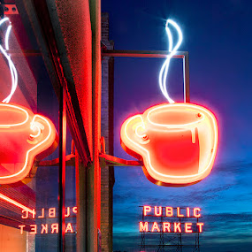 Glowing Coffee by Rich Voninski - Products & Objects Signs
