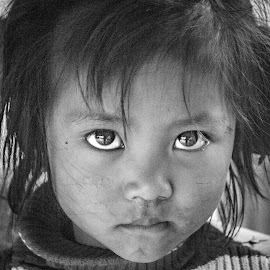the eye by Vishwamitra Arubam - Babies & Children Child Portraits ( child, potrait, black and white, innocent, lovely )