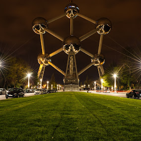 Atomium by night by Daniel Erstad - Travel Locations Landmarks ( chrome, atomium, night, plain, brussels )
