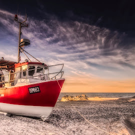 Thorup Strand by Ole Steffensen - Transportation Boats ( ship, beach, denmark, thorup strand, boat, fishing vessel,  )