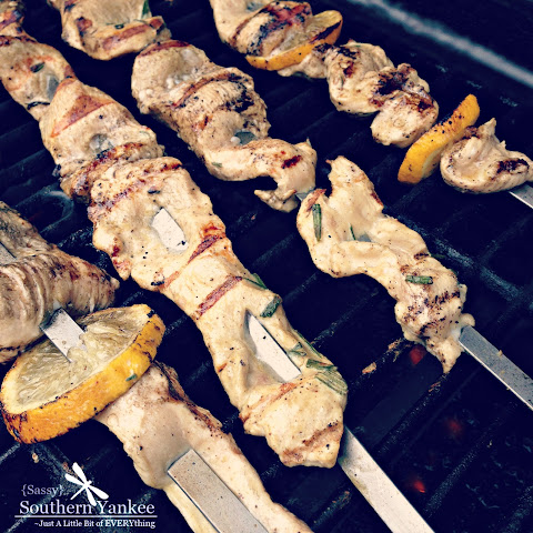 Lemon Thyme Chicken on Rosemary Skewers Recipe | Yummly