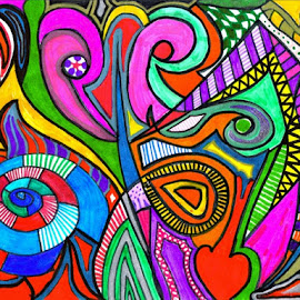 The Fun Zone by Nancy Bowen - Drawing All Drawing ( abstract curves, bold, abstract art, abstract lines, multicolored,  )