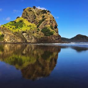 Reflections. by Martina Frnčová - Landscapes Beaches ( rock, sky, calm, reflection, blue, beach, sea, vivid,  )