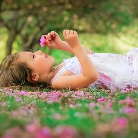 Bed of Cherries  by Krystal Ferington-Timozek - Babies & Children Children Candids ( pink flowers, little girl, girl, cherry trees, green, pink, beauty, toddler, flowers, garden, toddler girl )