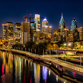 Philadelphia at Night by Carol Ward - City,  Street & Park  Skylines ( skyline, night photography, philly, south street bridge, philadelphia, nightscape )