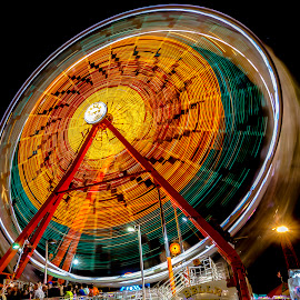 Round and Round by Bruce Byrne - City,  Street & Park  Amusement Parks ( longexposure, light, ferris wheel, thebigwheel, night, county fair,  )