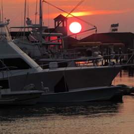 Sunset at Wildwood, NJ by James Barton - Transportation Boats ( dawn, nature, bay, sunset, beautiful, boats, ocean, transportation, sunrise, sun )