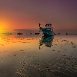 Vain by Choky Ochtavian Watulingas - Landscapes Waterscapes ( seaweeds, boats, reflections, seascape, sunrise, sun, skies )