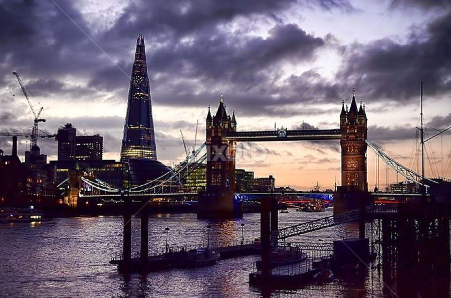 Tower Bridge & The Shard by Becky Wheller - Buildings & Architecture Bridges & Suspended Structures ( sky, night, bridge, landscape, city )