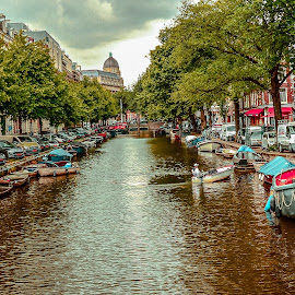 Amsterdam Canal by Prasanta Das - City,  Street & Park  Historic Districts ( boats, canal, historic )