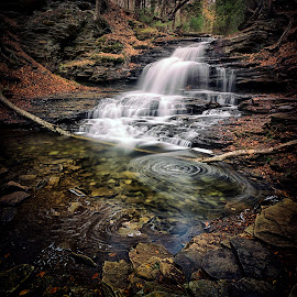F.L. Ricketts Waterfall by Robert Fawcett - Landscapes Waterscapes
