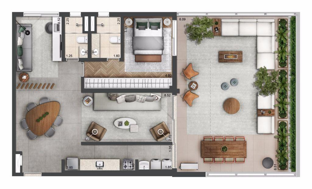 Planta Opção - 136 m²
