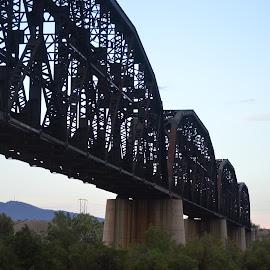train bridge by Kevin Walton - Novices Only Objects & Still Life ( train, transportation, bridge, steel, river )