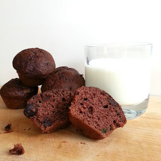 Dark Chocolaty Chip Zucchini Mini Muffins