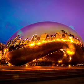 Rainy Day Bean by Amber Anderson - Buildings & Architecture Statues & Monuments ( bean, long exposure, night, chicago )