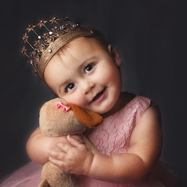 A Princess and Her Puppy by Jeannie Meyer - Babies & Children Child Portraits ( studio, baby portrait, canon, flash, brown eyes, crown, vintage crown, portrait, pink dress )