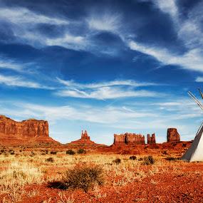 Monument Valley Teepee by Melanie Metz - Landscapes Deserts ( monument valley, desert, utah, teepee, arizona, desert sky, indian, native american )