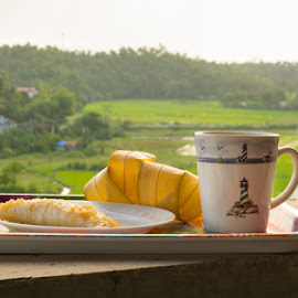 by OJ Abundo - Food & Drink Plated Food ( cup, coffe, mountain, tray, plains, view, landscape )