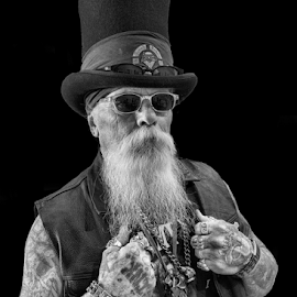 Master of Ceremonies by David Bair - People Body Art/Tattoos ( black and white, tattoos, beard, man, vest, hat,  )