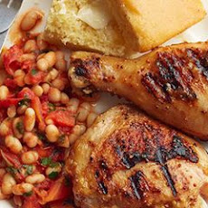 "Double Mustard and Honey-Glazed Chicken with ""Baked"" Beans"