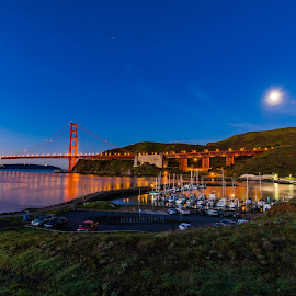 Sunrise on the Golden Gate with full moon by John Rourke - Buildings & Architecture Bridges & Suspended Structures ( marin county, 2017, fort baker, ca, golden gate bridge, california, horse, full moon, sunrise, landscape, usa, horseshoe bay )