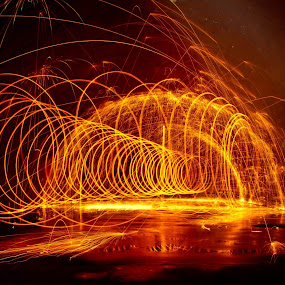 Through The Tunnel by Brenda Hooper - Abstract Fire & Fireworks ( orange, steel wool, fireworks, yellow, fire, black,  )