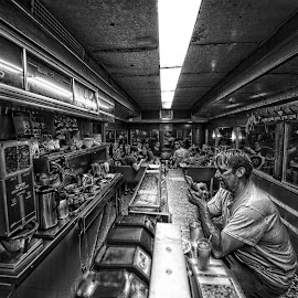Mickey's Diner by Peter Stratmoen - Black & White Portraits & People ( nikon, diner, minnesota, mickey's, st. paul, black and white, people )