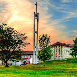 Good Shepherd Lutheran Church by Shari Brase-Smith - Buildings & Architecture Places of Worship ( iowa, sky, fort dodge, church, sunset, dramatic sky, architecture, landscape )