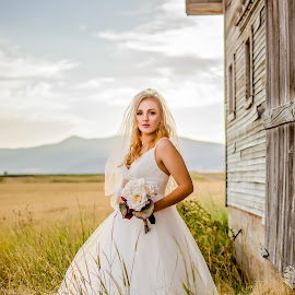 Kalle Bridal Photography in Grace Idaho around an overgrown barn by Elizabeth Loera - Wedding Bride ( grace, idaho, bridal, overgrown, barn, wedding, photography )
