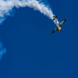 Yak-52 Smoke Trail by Craig Warton - Transportation Airplanes ( redcliffe kite festival, craig warton, plane, aeroplane, aerobatics, redcliffe kite fest, yak 52, smoke, airshow )