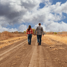 Long Dirt Road by Gerald Glaza - People Couples ( walking, dirt road, couple, walk, together )