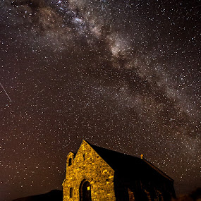 Spiritual by Ian Mills - Landscapes Starscapes ( church of good shepard, stars, lake tekapo, astrophotography )