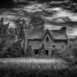 Canadian Gothic by Larry Wheaton - Buildings & Architecture Decaying & Abandoned ( farm, black and white, ontario, landscape, abandoned )