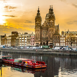 Amsterdam by Andy Vic Brown - City,  Street & Park  Historic Districts ( church, amsterdam, sunrise, travel, boat, canal )