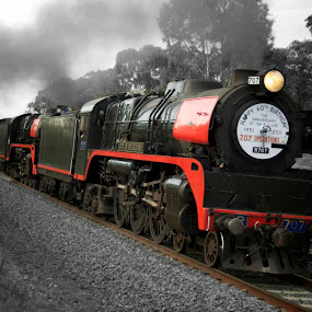 Victorian R Class on return to Melbourne from Bendigo by William Greenfield - Transportation Trains ( red, city of melbourne, railway, engine, locomotive, train, r class, steam,  )