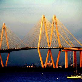 Fred Hartman Bridge by Noel Hankamer - Buildings & Architecture Bridges & Suspended Structures ( water, baytown, suspension bridge, blue, texas, houston, fred hartman bridge, lapoerte, bridge, landscape, houston ship channel )