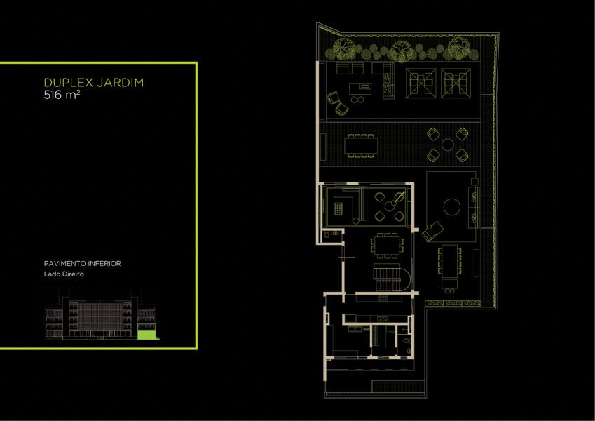 Apto  Duplex Jardim (1B)  - 516 m² - Piso Térreo