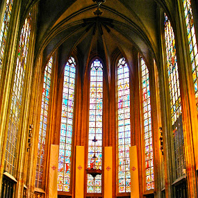 In Brussels by Denise Zimmerman - Buildings & Architecture Other Interior ( church, interiors, pwcdetails, cathedral, stained glass )