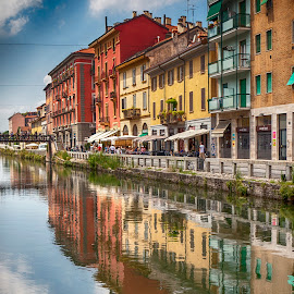 Milano by Anna Anastasova - Buildings & Architecture Homes ( water, milan, houses, reflections, river )
