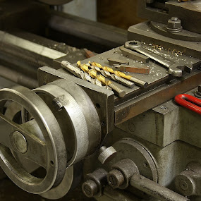 At the Lathe by Lyle Hatch - Artistic Objects Industrial Objects ( work, chips, machinery, handle, precision, old tools, hand wrench, dials, for machining, steel, machine, lathe, box wrench, industrial, machine shop, metal, drill bits, metallic, knob, precise, hex wrench,  )