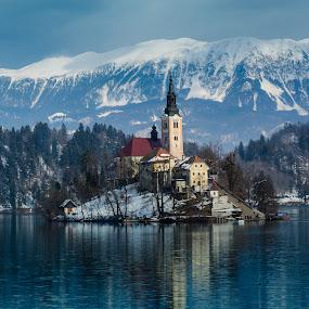 Lake  Bled by Arif Sarıyıldız - City,  Street & Park  Vistas ( mountains, winter, slovenia, bled, ljubljana, lake, alps, alpine )