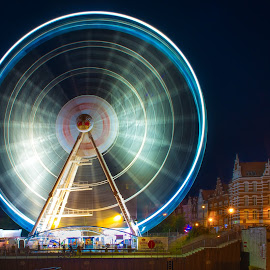 Carousel in Gdansk, Poland by Marcin Frąckiewicz - City,  Street & Park  City Parks ( night photography, park, carousel, night, nightscape )