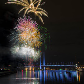 The Final Hurrah!! by Scott Hemsley - Abstract Fire & Fireworks ( lights, reflection, melbourne, fireworks, blended, bridge, yarra, river )